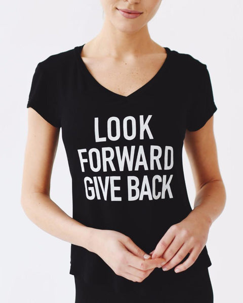 Joriki | Look Forward Give Back V-neck Tee | Black-Short-Sleeve Top-Mod + Ethico