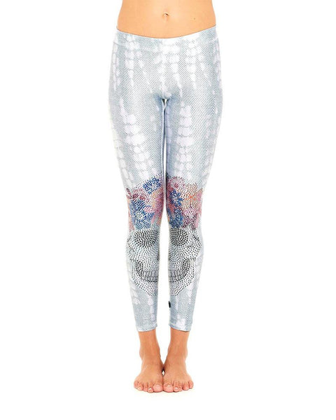 Terez Crystal Skull Flower Crown Performance Leggings | White-Leggings-Mod + Ethico