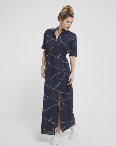 Thinking MU | Navy Abstract Lines Barcelona Dress-Dresses-Mod + Ethico