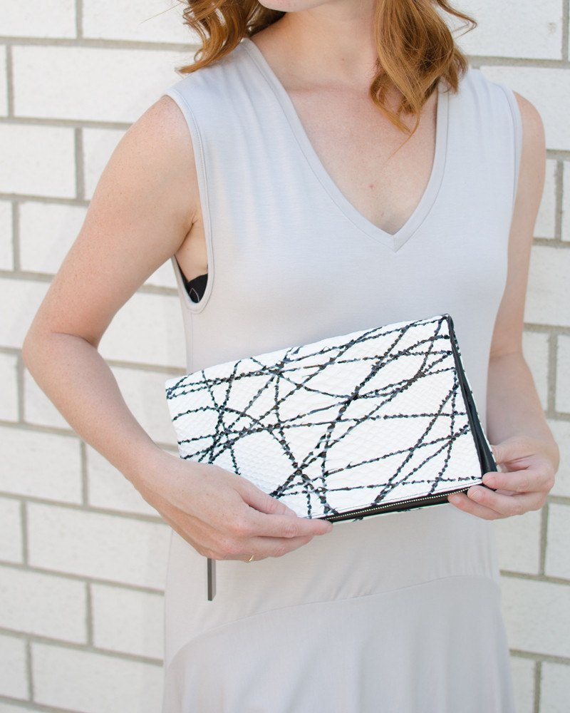 August Ca. Black/White Foldover Snake Leather Clutch-Clutch-Mod + Ethico