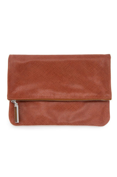 Clutch - Mahogany Foldover Leather Clutch | August Ca.