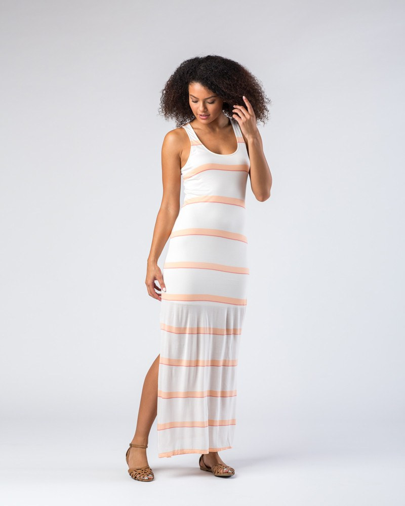 Splendid Peach/White Striped Tank Maxi Dress-Dresses-Mod + Ethico