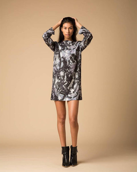 Suki + Solaine | Galatea Print Crepe Longsleeve Mini Dress-Dresses-Mod + Ethico