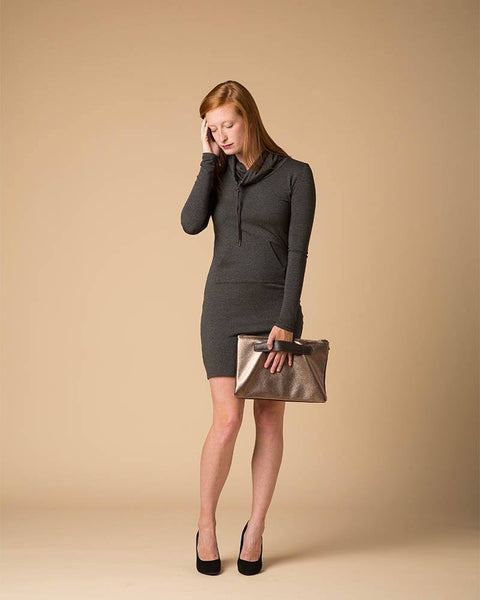 Suki + Solaine | Stella Cowl Neck Dress in Black or Charcoal-Dresses-Mod + Ethico