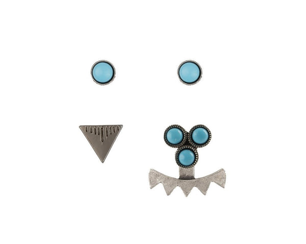 CAM Jewelry | Turquoise & Silver Low Tide Earring Set-Earrings-Mod + Ethico