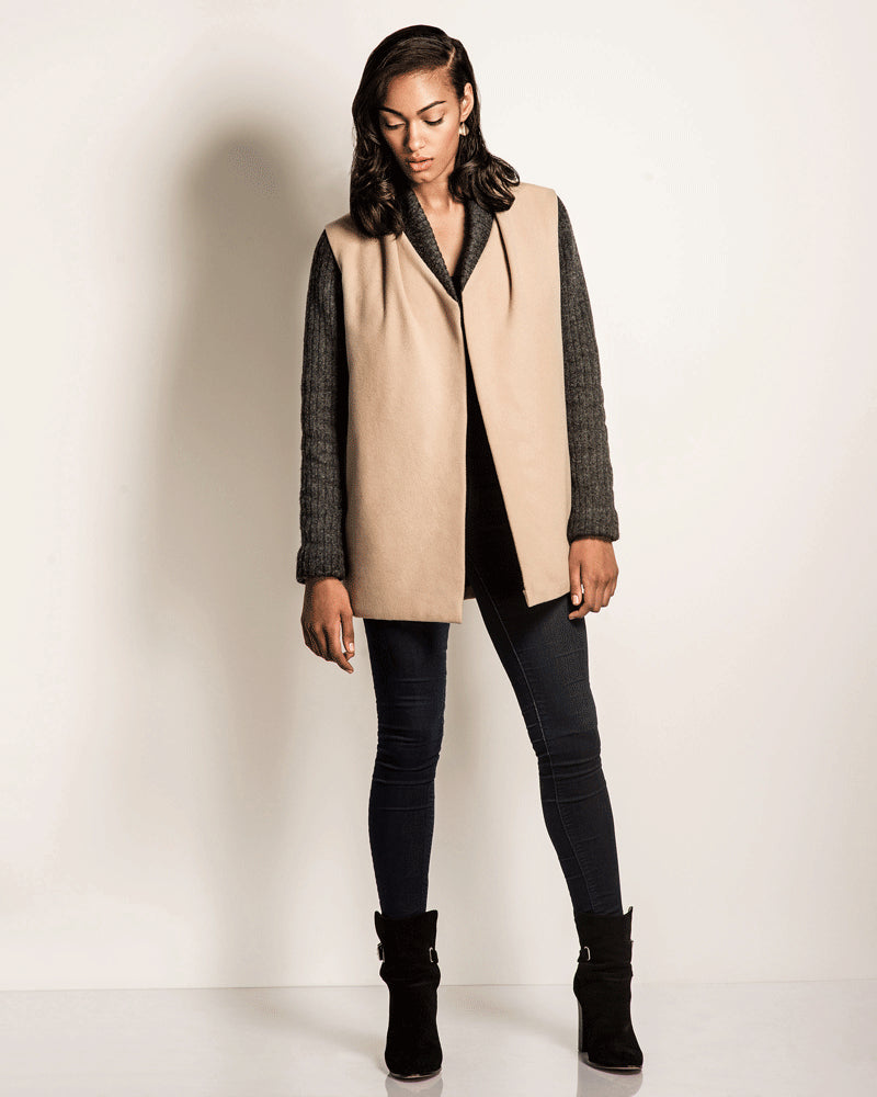 Coat Check | Tan Wool Car Coat with Charcoal Knit Sleeves-Jackets & Blazers-Mod + Ethico