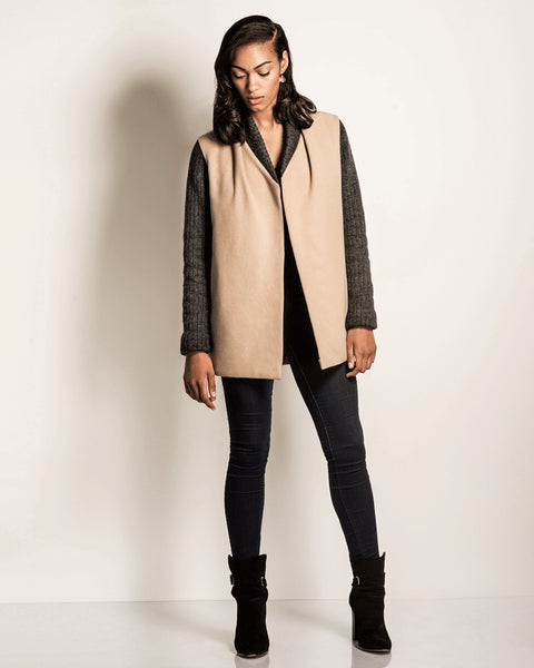 Jackets & Blazers - Coat Check | Tan Wool Car Coat With Charcoal Knit Sleeves