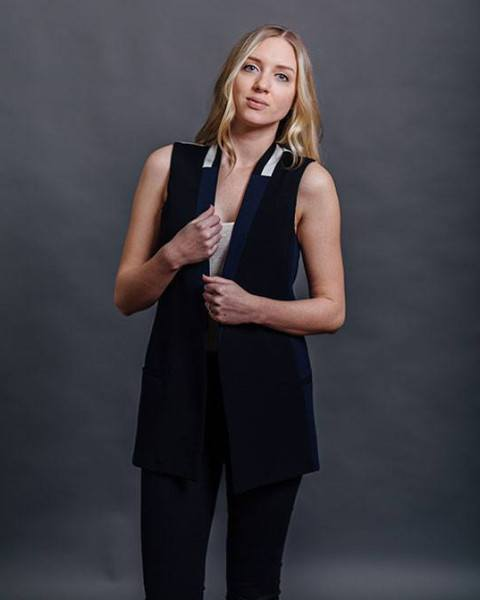 DREW Clothing Navy/Black/White Color Block Vest | The Noelle-Jackets & Blazers-Mod + Ethico