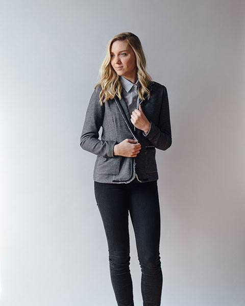 Gemma Tailored Charcoal Blazer with Black Trim | DREW Clothing-Jackets & Blazers-Mod + Ethico