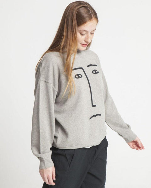 Thinking MU Heather La Mandanga Face Sweatshirt-Longsleeve Tops-Mod + Ethico