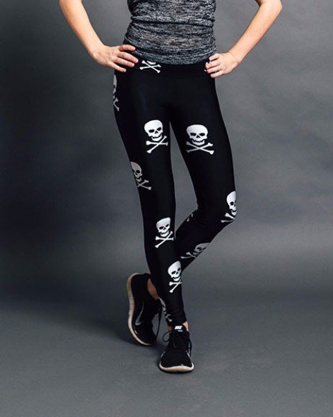 Goldsheep Clothing Skull & Crossbone Graphic Leggings-Leggings-Mod + Ethico