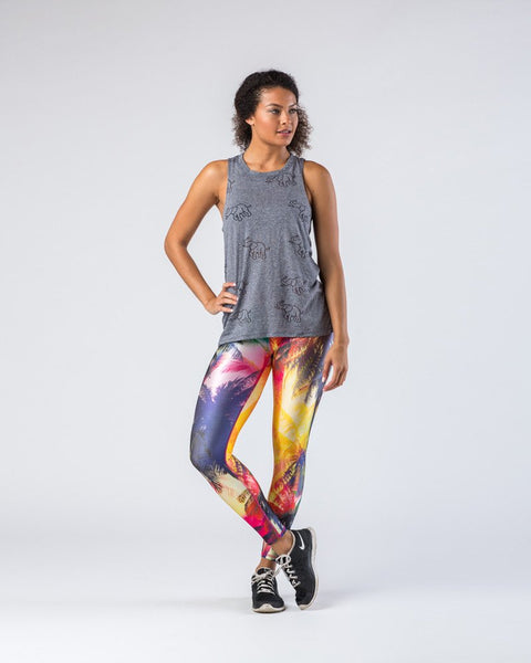 Terez Neon Palm Tree Patterned Leggings-Leggings-Mod + Ethico