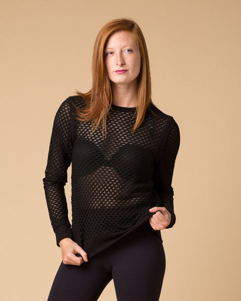Longsleeve Tops - Suki + Solaine Black Sheer Double Mesh Crew Neck Top