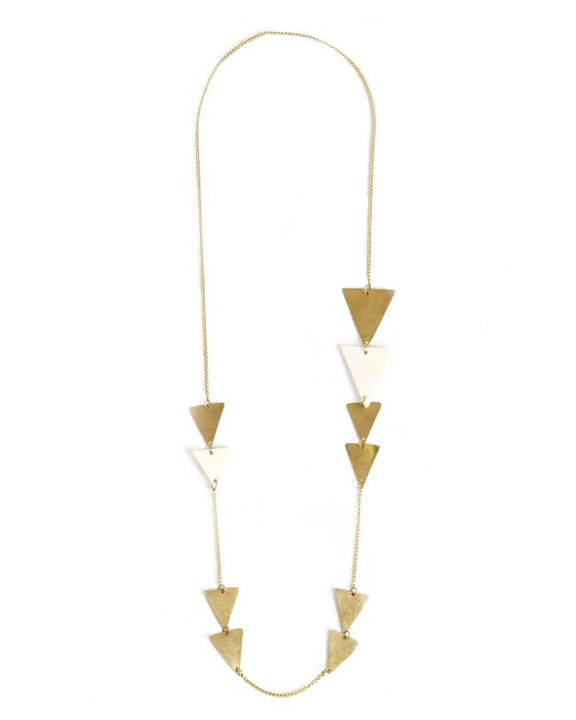 ME To WE Bone & Brass Long Triangle Necklace | The Kipande-Necklace-Mod + Ethico