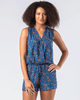 Splendid | Blue Floral V-Neck Cross-Front Sleeveless Romper-Romper-Mod + Ethico