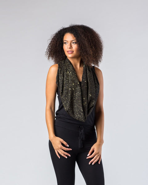 Scarves - Black Gold Speckle Raw Silk Infinity Scarf