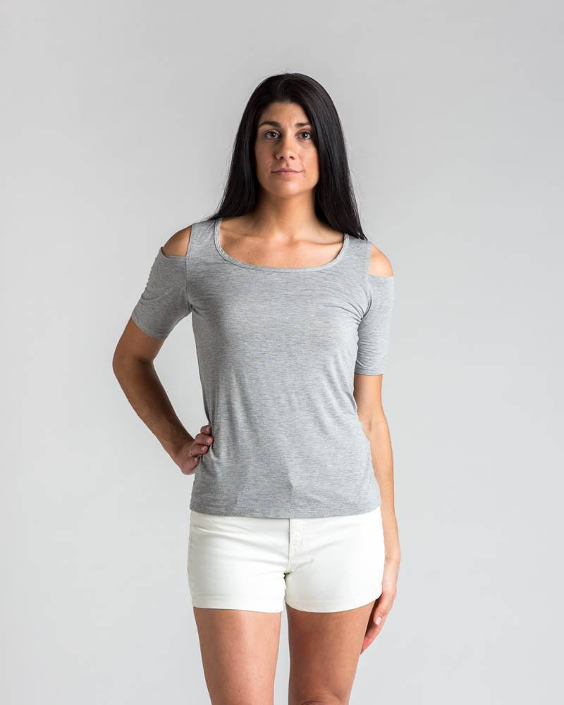 Splendid Cold Shoulder Tee in Heather Grey-Short-Sleeve Top-Mod + Ethico