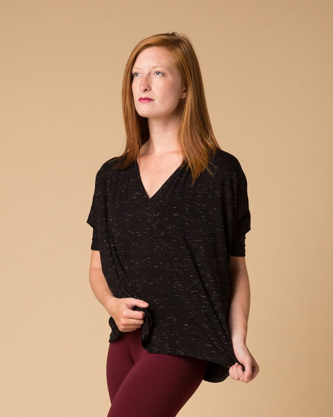 Short-Sleeve Top - Suki + Solaine Black/White Striated Dolman Tee