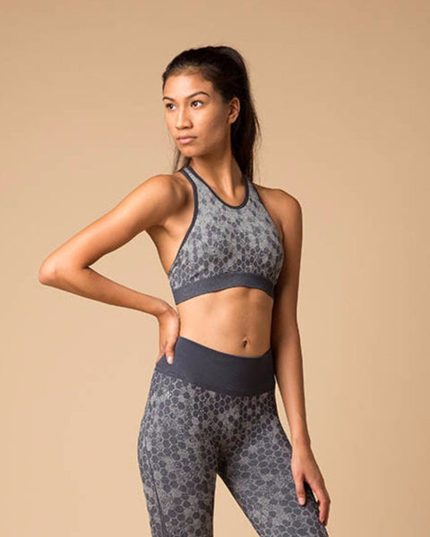 Honeycomb Halter Sports Bra | NUX | Charcoal-Sports Bra-Mod + Ethico