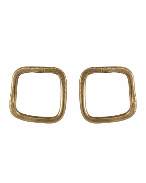 People Tree | Square Stud Earrings | Silver or Brass-Earrings-Mod + Ethico
