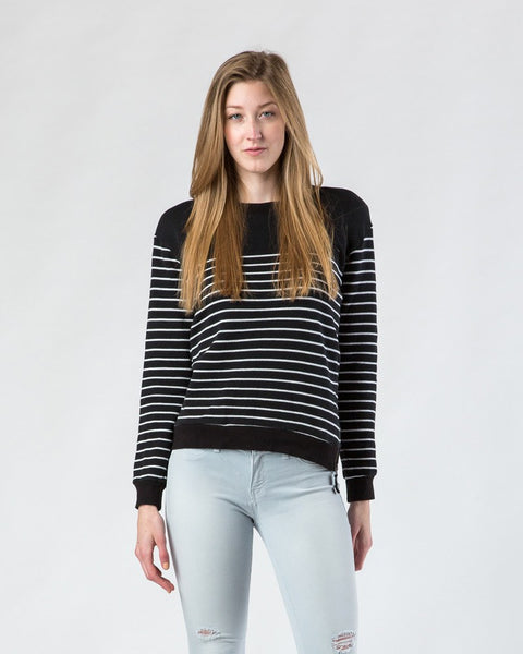 Sweater - Splendid Black And White Striped Side-Zip Sweater