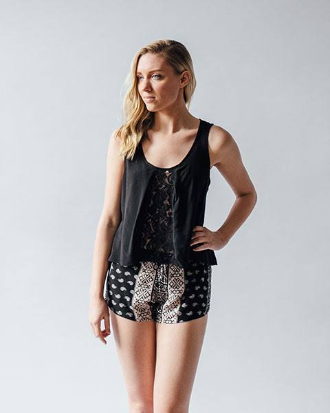 Surf Gypsy | Black Lace Fly-Back Tank-Tanks-Mod + Ethico