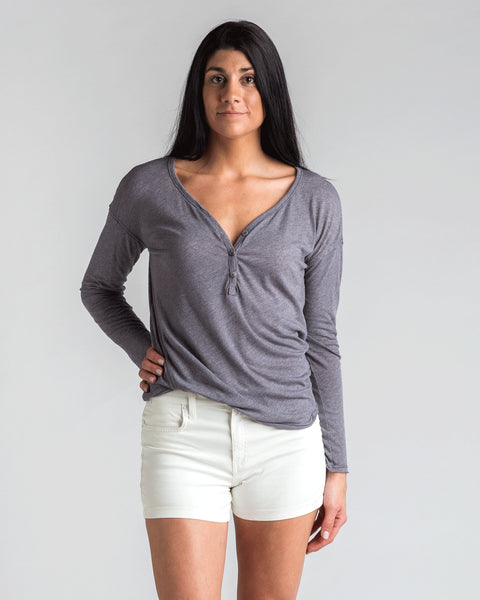 Tops - Heather Grey Open Back Henley | Splendid