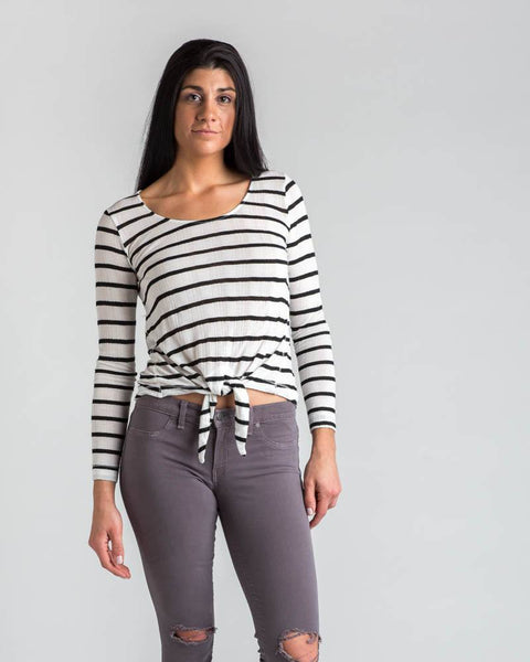 Tops - Splendid Tie-front Stripe Longsleeve Top