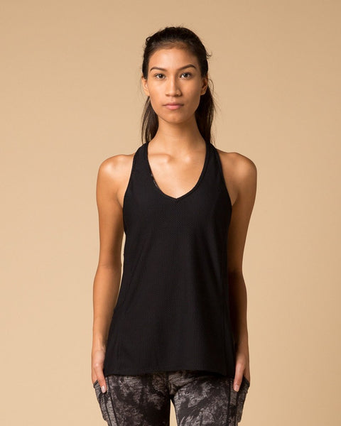 Workout Tops - NUX Good Vibes Mesh Running Tank | Black