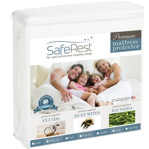 Cal King Size SafeRest Premium Hypoallergenic Waterproof Mattress Protector - Vinyl Free by SafeRest