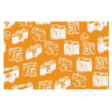 "Kess InHouse KESS Original ""Camera Pattern"" Orange Feeding Mat for Pet Bowl, 24 by 15-Inch"