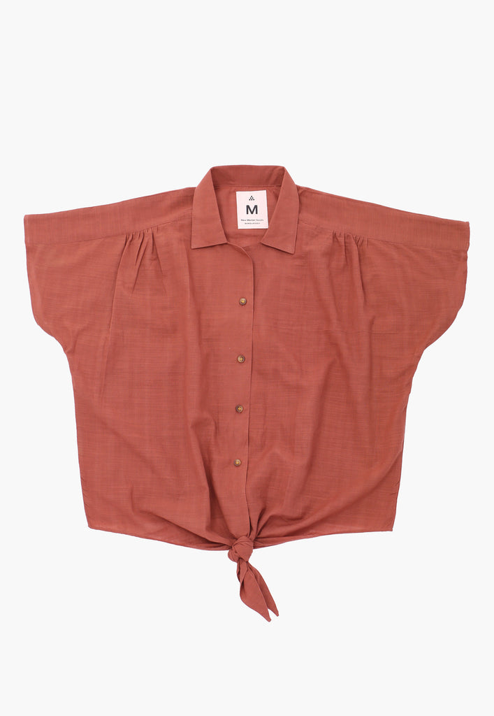 Burgundy Natural Front Tie Shirt