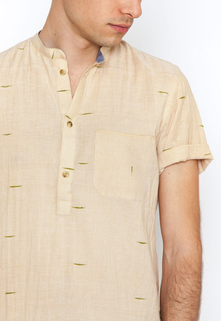 Lalbagh Popover Shirt with Green Dobby Dashes