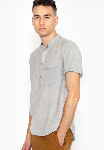 Azimpur Popover Shirt with Orange Ticking