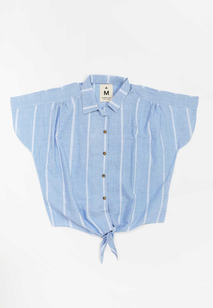 Lungi Blue Front Tie Shirt