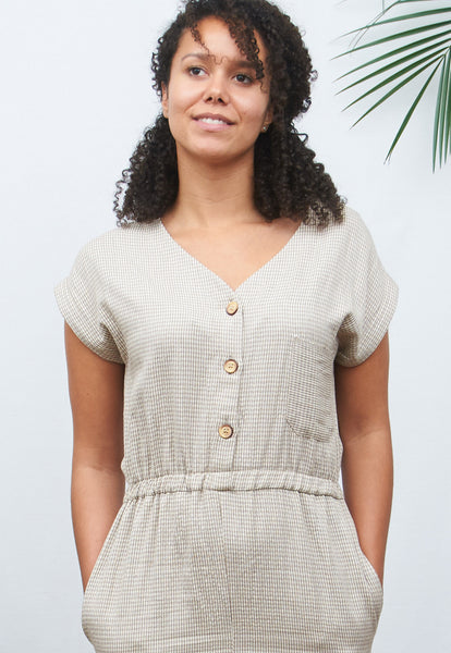 Natural & White Houndstooth Jumpsuit