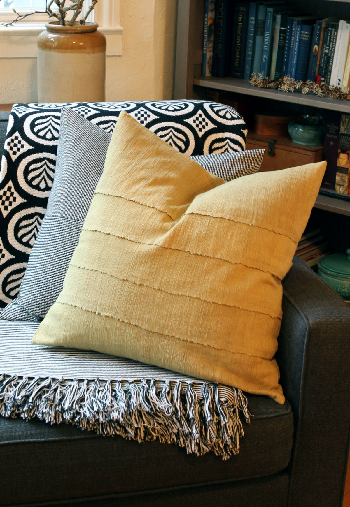 Ochre Khadi Throw Pillow