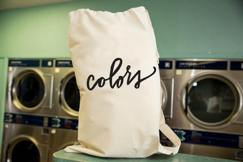 Colors, Darks or Whites Laundry Bag in Natural Color with Drawstring to close and strap for Carrying