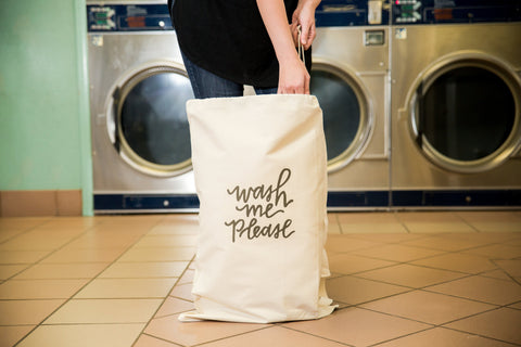 Wash Me Please Laundry Bag in Natural Color with Drawstring to close and strap for Carrying