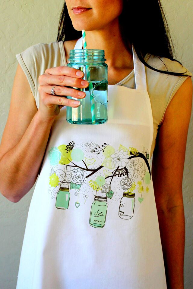 Green Mason Jars Apron
