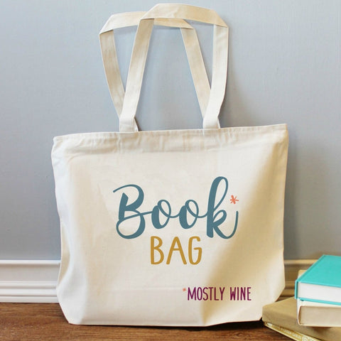 Book Bag Mostly Wine XL Tote Bag
