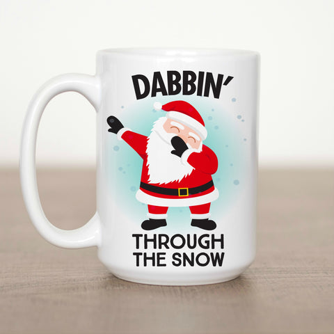 Dabbin through the Snow Santa 15 oz Mug