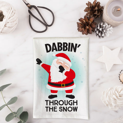Dabbin Through the Snow Santa Kitchen Towel