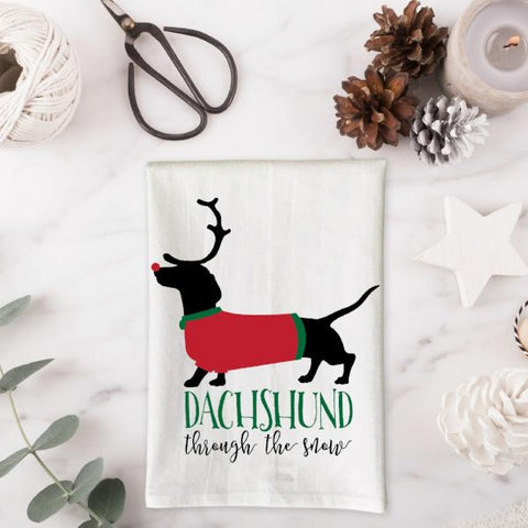 Dachshund through the snow Kitchen Towel
