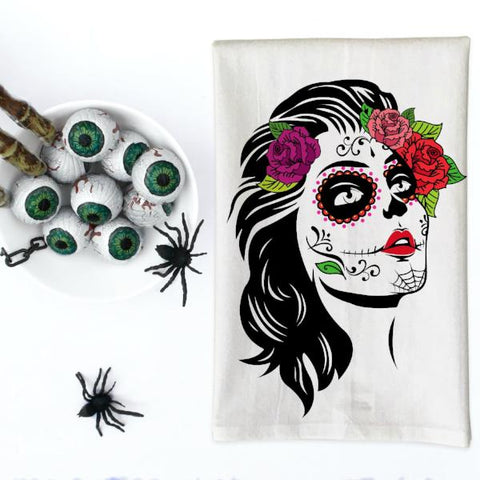 Day of the Dead Woman Kitchen Towel