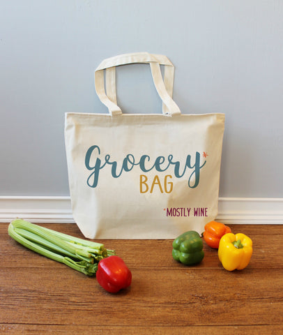 Grocery Bag Mostly Wine XL Tote Bag