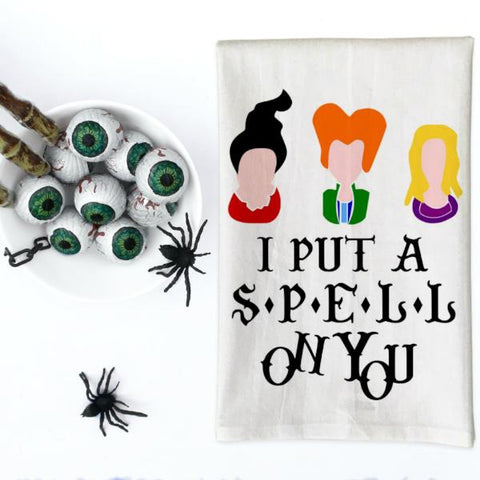 I Put A Spell On You Halloween Kitchen Towel, Tea Towel, Flour Sack