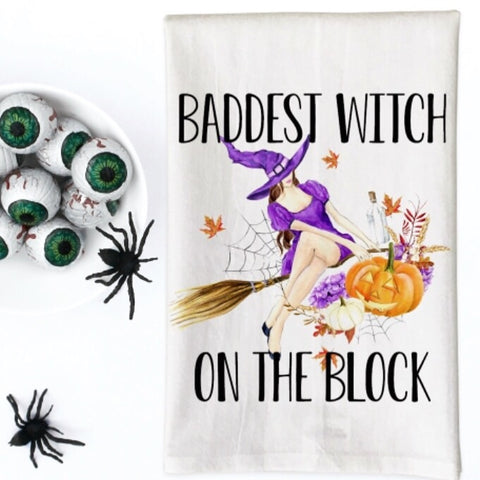 Baddest Witch on the Block Kitchen Towel