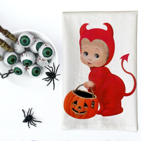 Vintage Devil Kid Costume Kitchen Towel