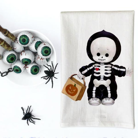 Vintage Skeleton Kid Costume Kitchen Towel